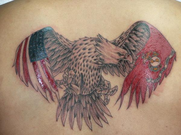 American And Military Flag Flag Wings Eagle Tattoo On Back
