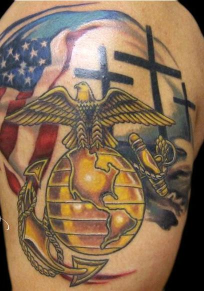 American And Military Tattoos On Shoulder