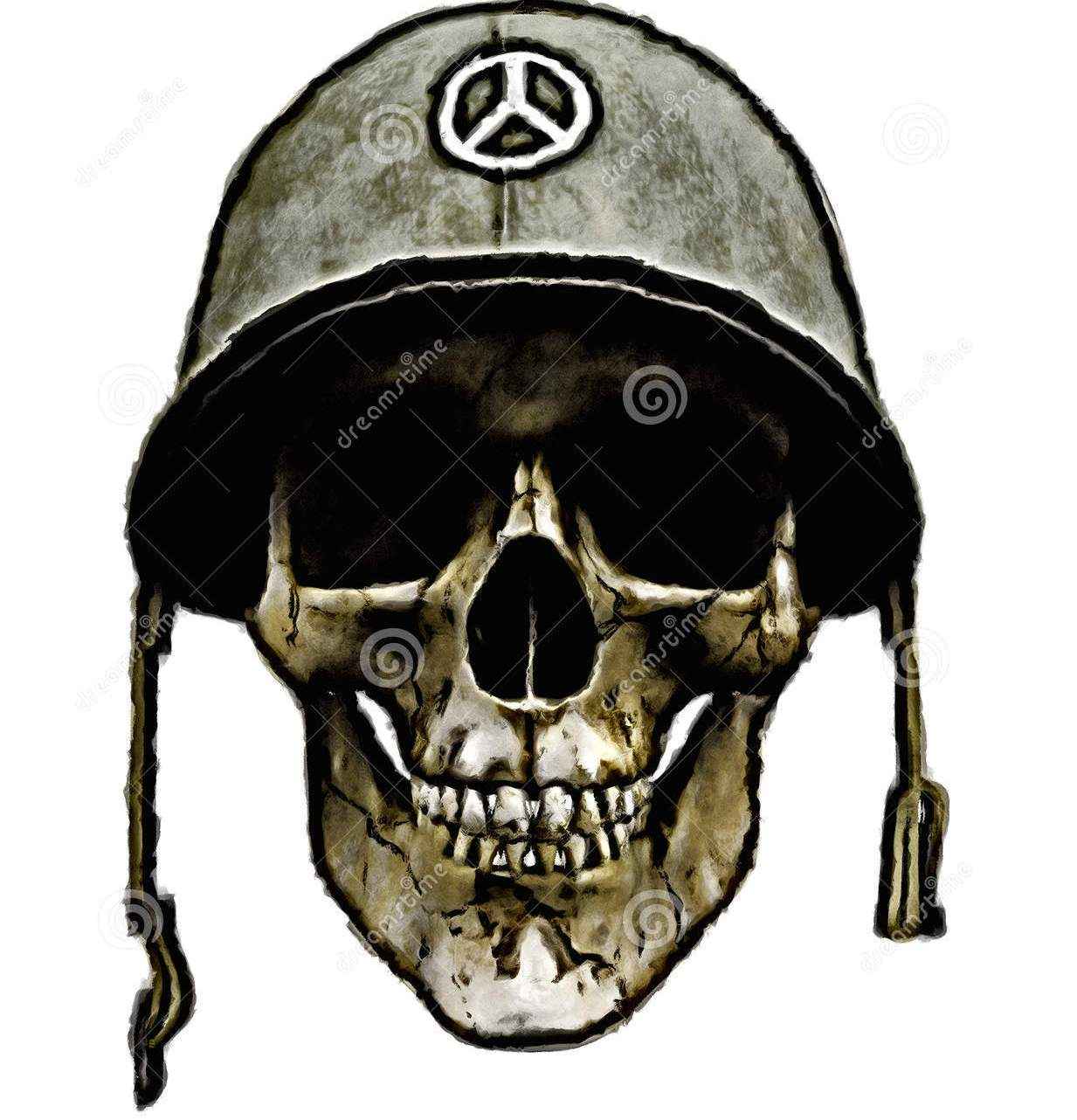 American Army Helmet Dead Soldier Tattoo Design