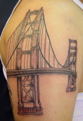 American Bridge Tattoo On The Shoulder