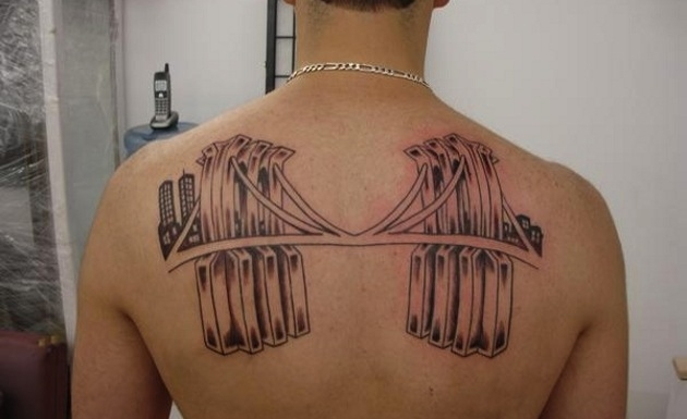 American Bridge Tattoo On Upperback