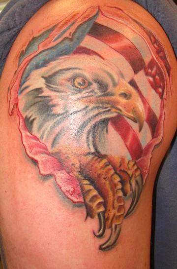 American Eagle Ripped Skin Tattoo On Shoulder