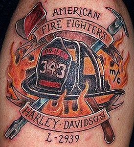 American Fire Fighters Helmet Tattoo