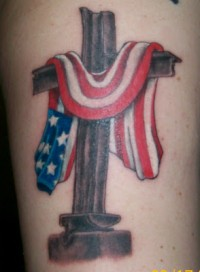 American Flag And Cross Tattoos