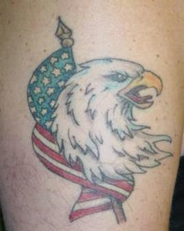 American Flag And Eagle Head Tattoos