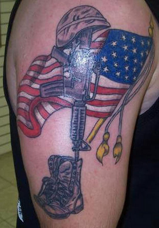 American Flag And Military Tattoos On Arm (2)