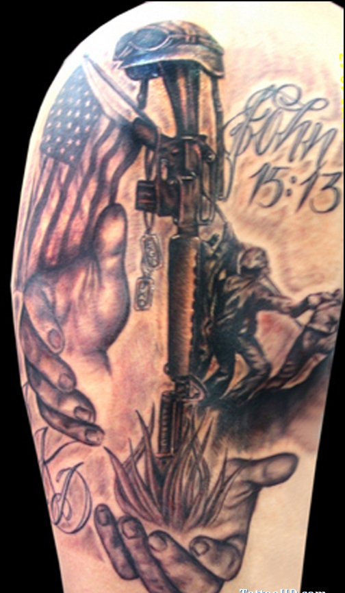 American Flag And Military Tattoos On Arm (3)