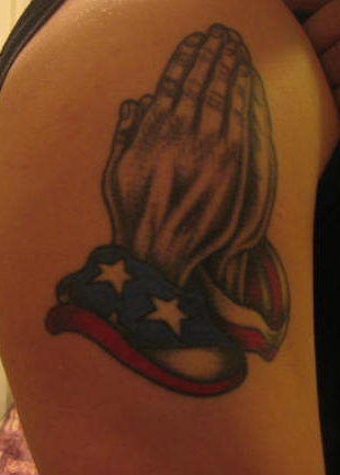 American Flag And Praying Hands Tattoos