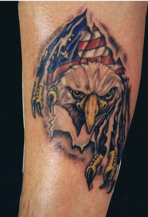 American Flag Eagle Tattoo On Arm (2)