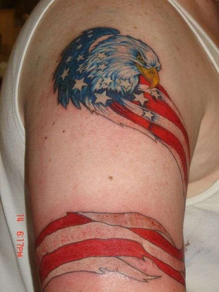 American Flag Eagle Tattoo On Arm