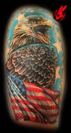 American Flag Eagle Tattoo On Half Sleeve