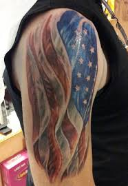American Flag Tattoo On Half Sleeve For Guys