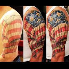 American Flag Tattoo On Half Sleeve For Men