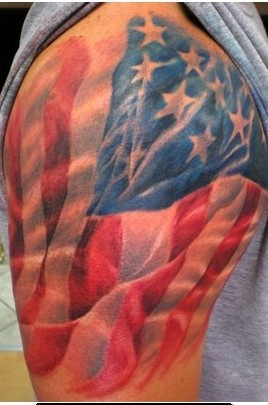 American Flag Tattoo On Half Sleeve