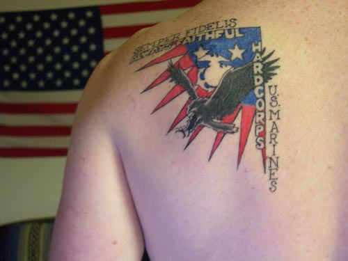 American Flag Tattoo On Left Back Shoulder