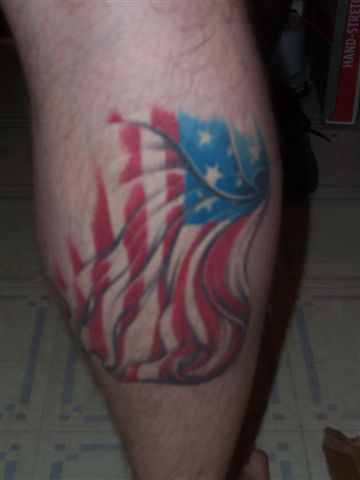 American Flag Tattoo On Leg