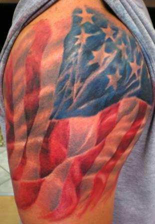 American Flag Tattoo On Shoulder (2)