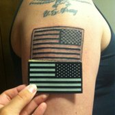 American Flag Tattoo On Shoulder For Men