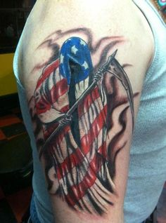 American Grip Reaper Tattoo On Biceps