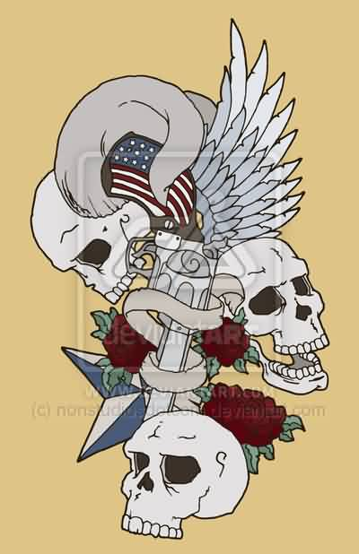 American Guns And Skulls Tattoo Design