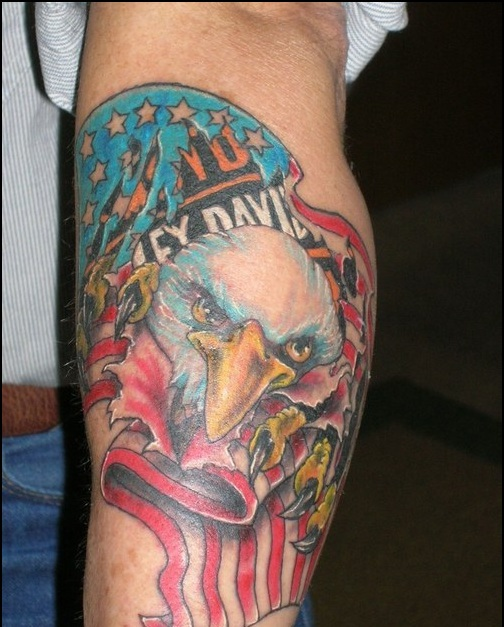 American Harley Davidson Tattoo On Arm