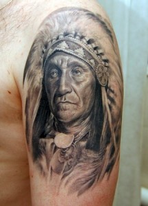 American Indian Portrait Tattoo On Shoulder