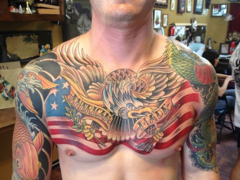 American Made Chestpiece Tattoo