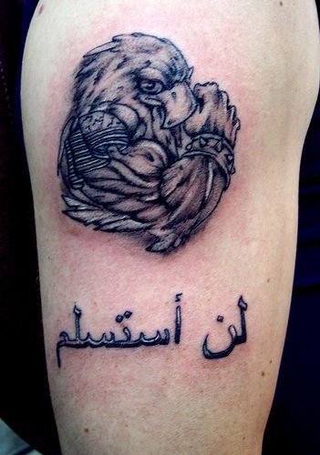 American Pride And Arabic Word Tattoos On Arm