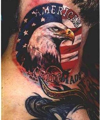 American Pride Tattoo On Neck