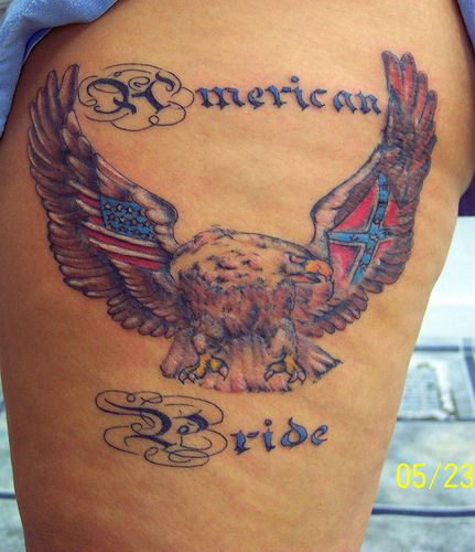 American Pride Tattoo On Thigh