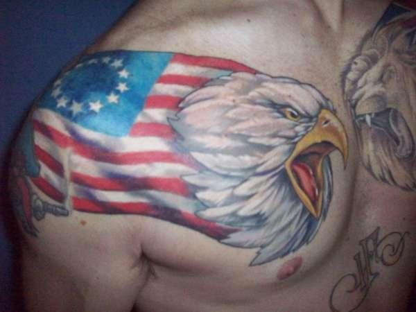 American Tattoo From Shoulder To Chest For Men