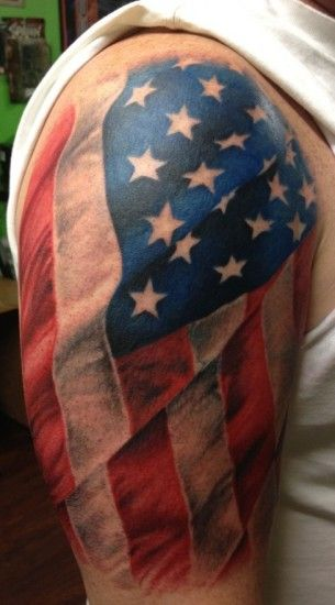 American Tattoo On Half Sleeve