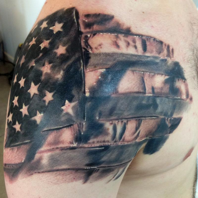 American Tattoo On Shoulder