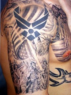 American Tattoos On Half Sleeve And Chest