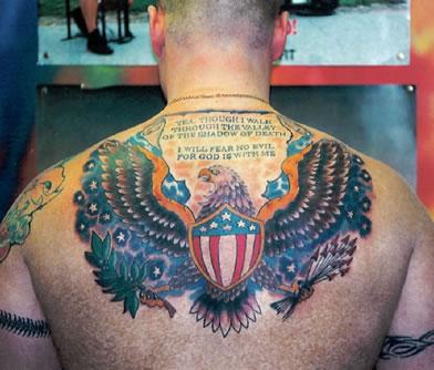American Tattoos On Upperback For Men