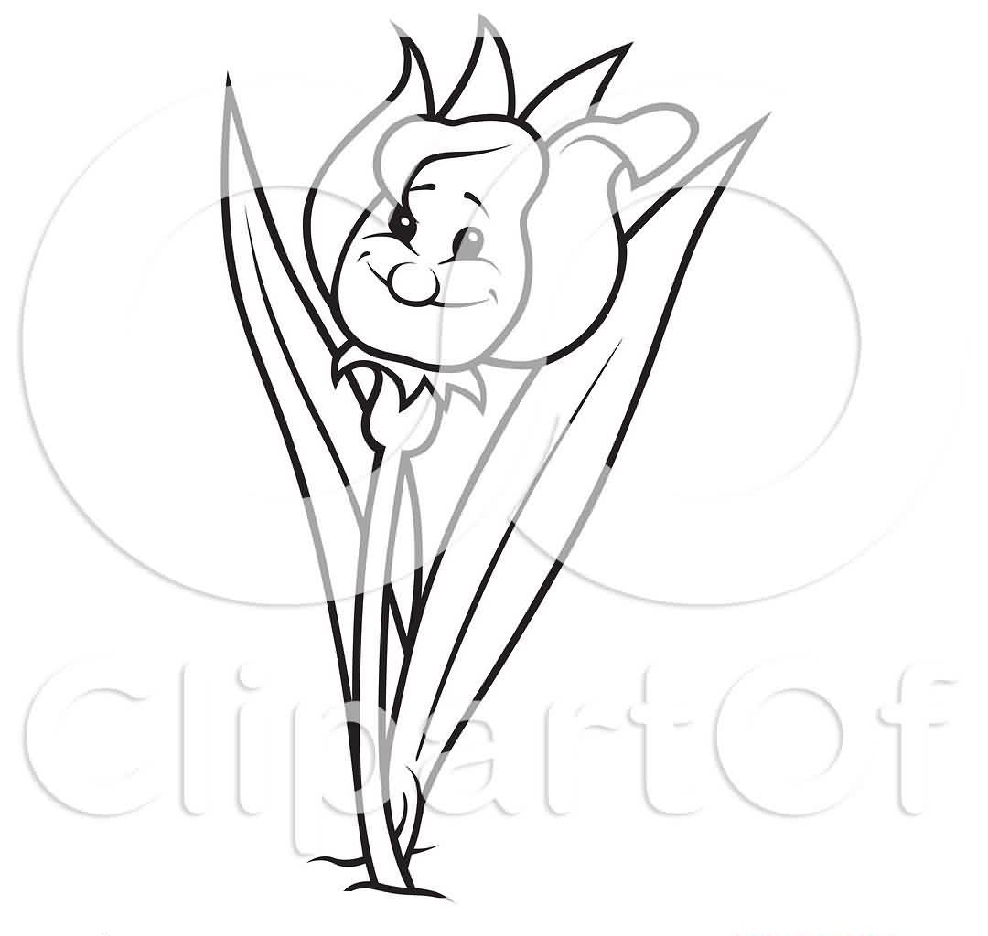 An Outline Of A Happy Tulip Flower Tattoo Sample