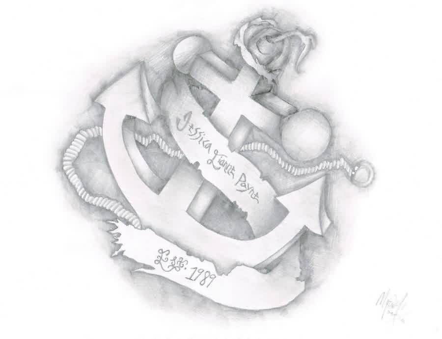 Anchor Ribbon Name Plate Tattoo Sketch