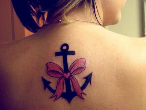 Anchor With Pink Ribbon Tattoo On Upperback For Girls