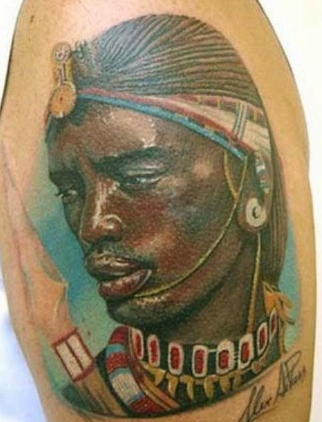 Ancient African People Portrait Tattoo