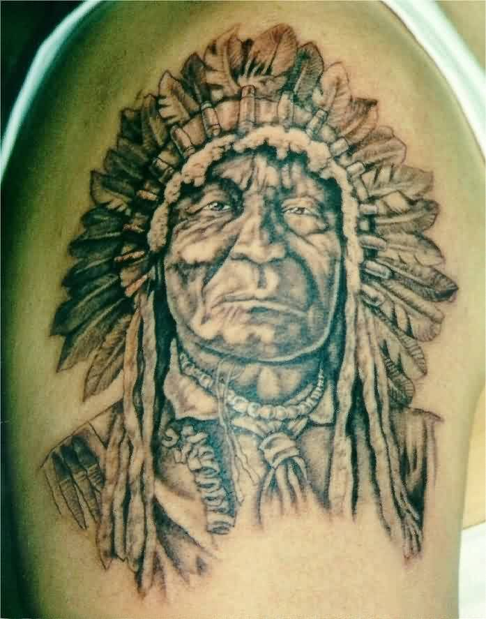 Ancient Portrait Tattoo On Shoulder