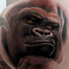 Angry Gorilla Portrait Tattoo For Men