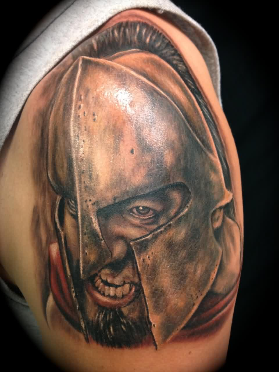 Angry Spartan Warrior Portrait Tattoo On Shoulder