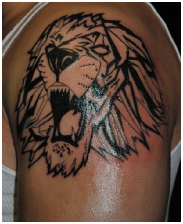 Angry Tribal Lion Tattoo On Shoulder
