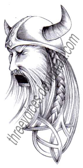 Angry Viking Head In Helmet Tattoo Design