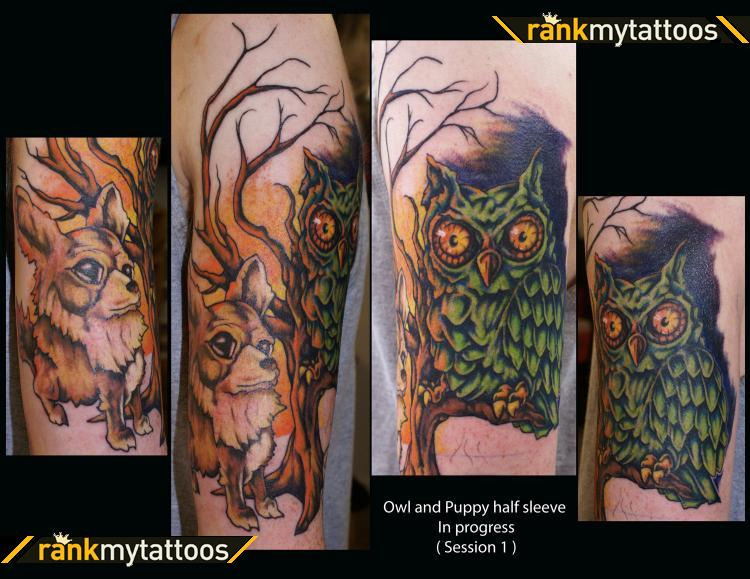 Animal And Owl Sleeve Tattoos