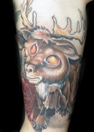 Animal And Red Rose Tattoo