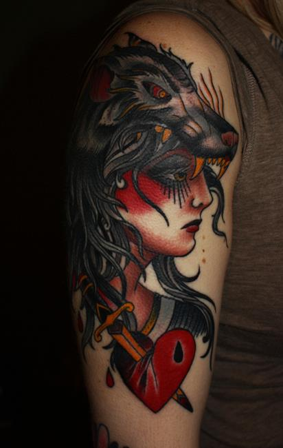 Animal And Woman Face Tattoos ON Arm