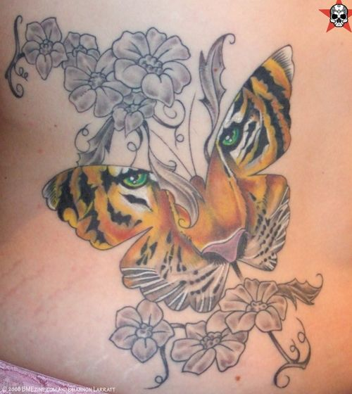 Animal Face Butterfly And Grey Flower Tattoos