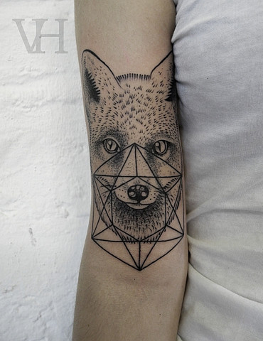 Animal Fox Geometric Tattoo On Arm