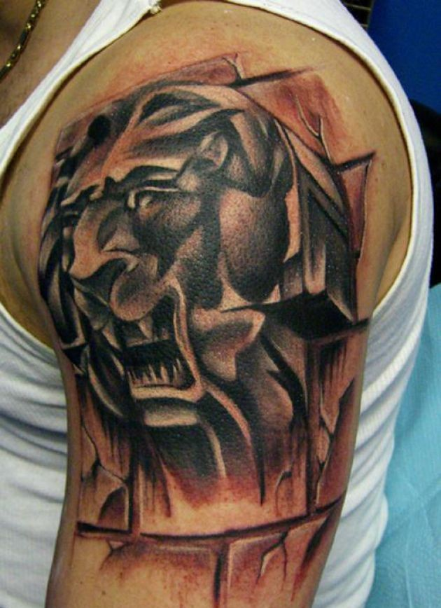 Animal Head Tattoo On Shoulder